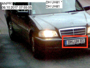 License plate recognition, number plate recognition. Precise detection of vehicles