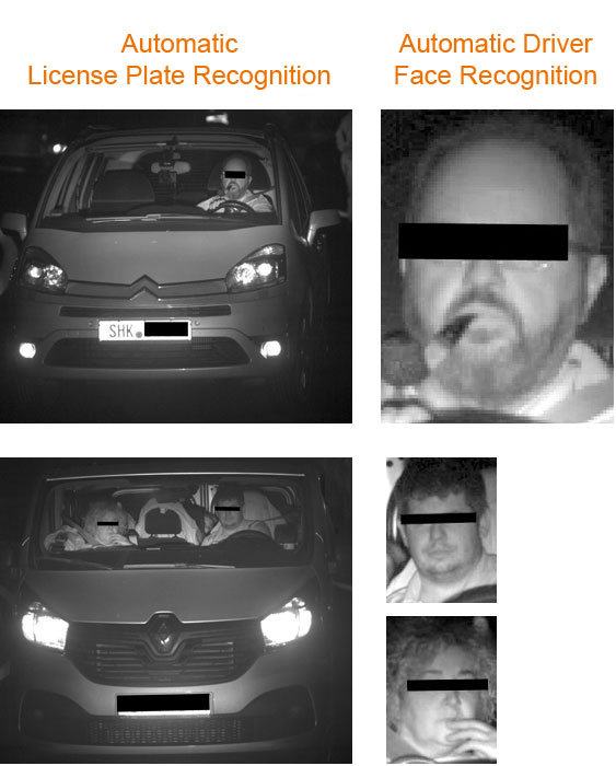 Detection of vehicle drivers through the windscreen. Evaluation and alarming. Long range.