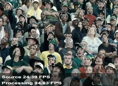 Face recognition tool from a crowd of people for areas where security measures are essential.