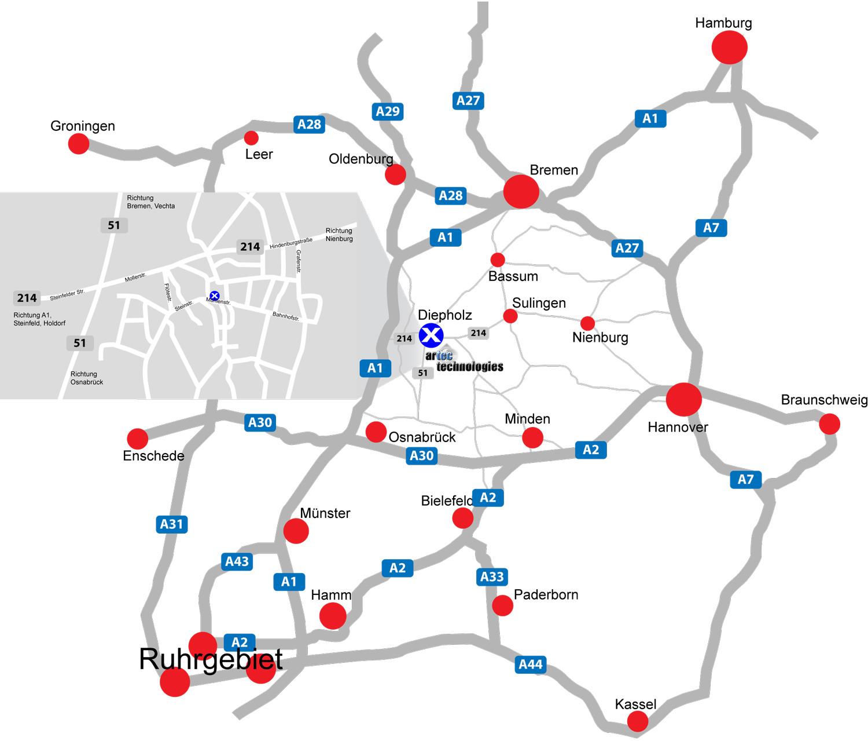 Anfahrt zu artec technologies AG. Landkarte und Übersicht, wie Sie über die Straße zu uns kommen.